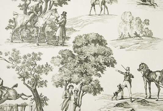 Fox Hunting Wallpaper Toile Wallpaper in cream with dark green toile 534x363