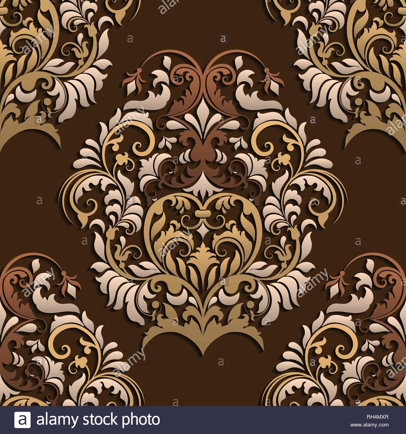 3D dark Paper cut Vector damask seamless pattern Elegant luxury 1300x1390