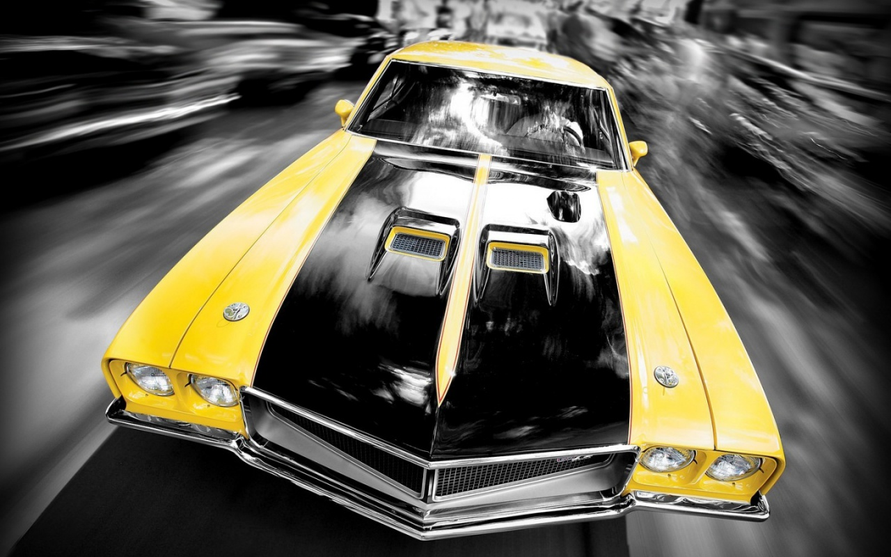 download Super fast yellow black car wallpaper desktop background 1280x800