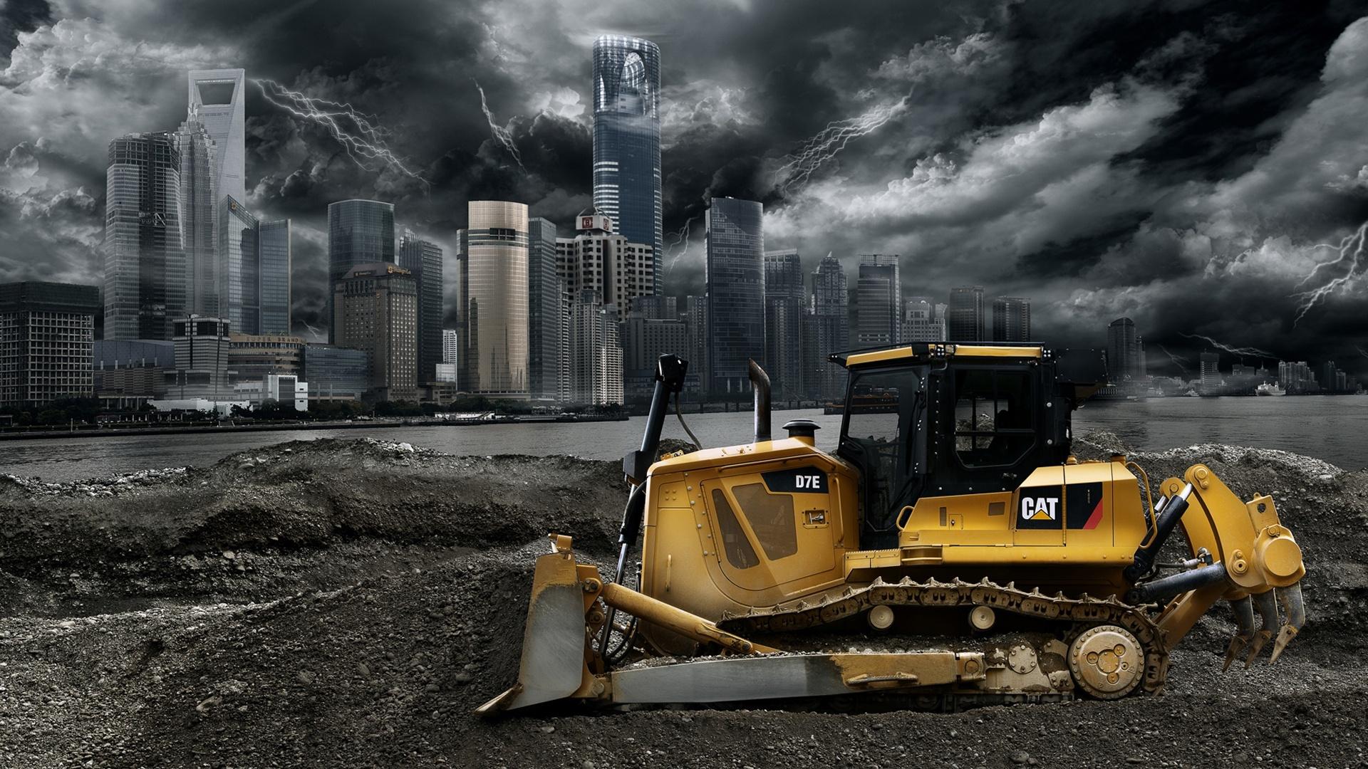 Caterpillar D7E bulldozer car caterpillar city cloud d7e gray 1920x1080