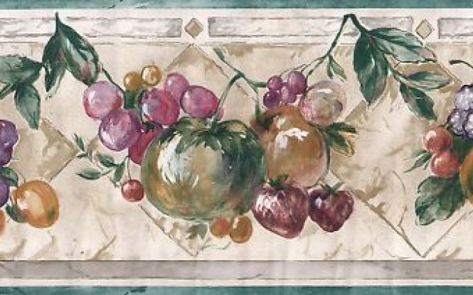 Kitchen fruit wallpaper border ebay 665x415