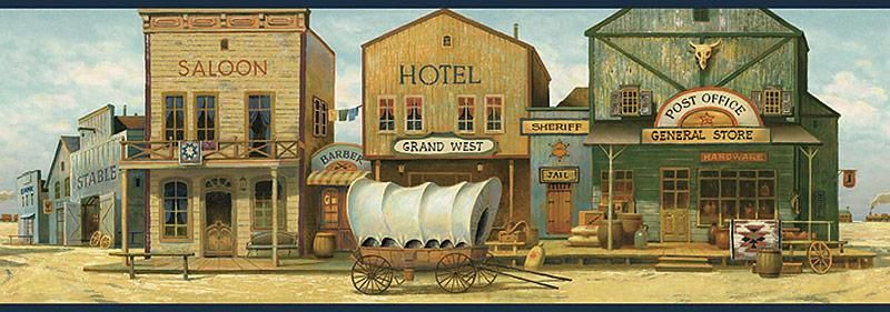 Old West Town Wallpaper Border   Navy from Buffalo Trader Online in 800x281