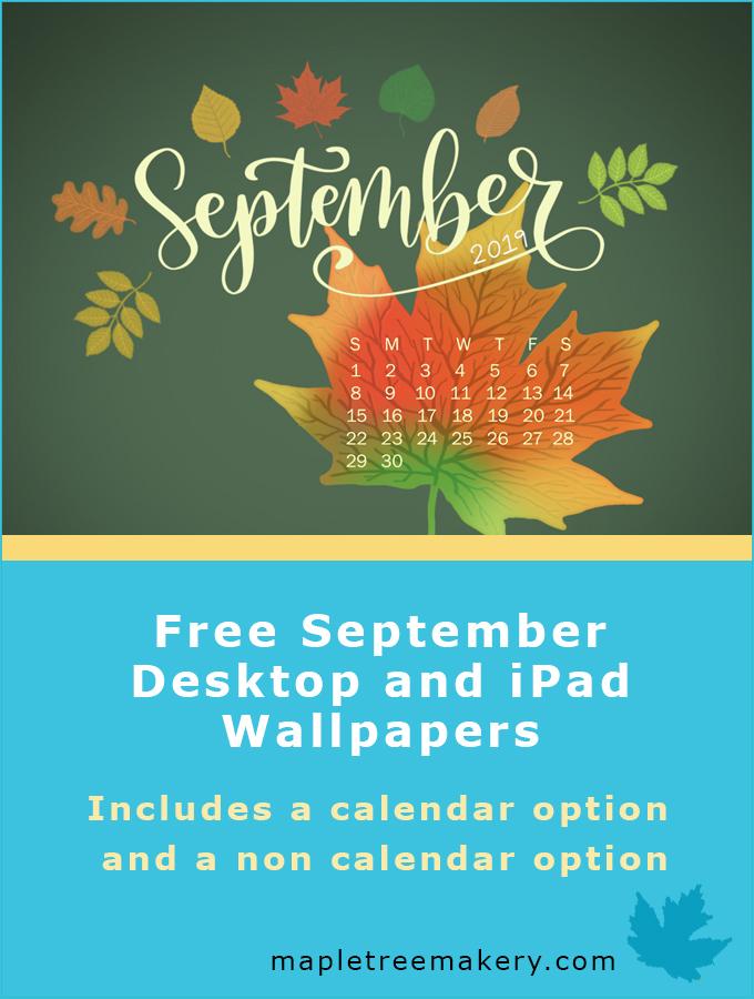 September 2019 Autumn Leaves Desktop and iPad Wallpaper 680x900