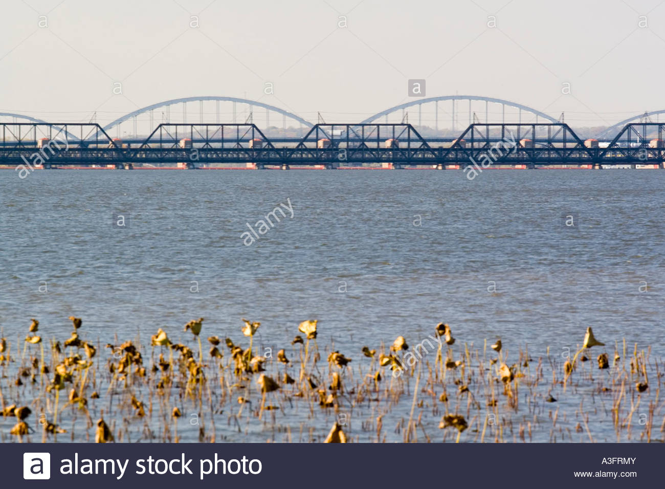 Davenport Iowa USA Mississippi River and Centennial Bridge in the 1300x956