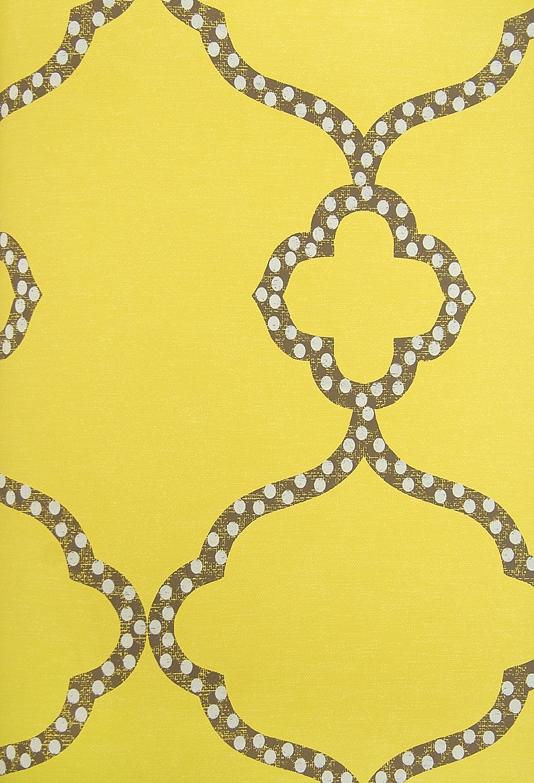 Gibraltar Trellis Wallpaper Bright Yellow Wallpaper with dark brown 534x783