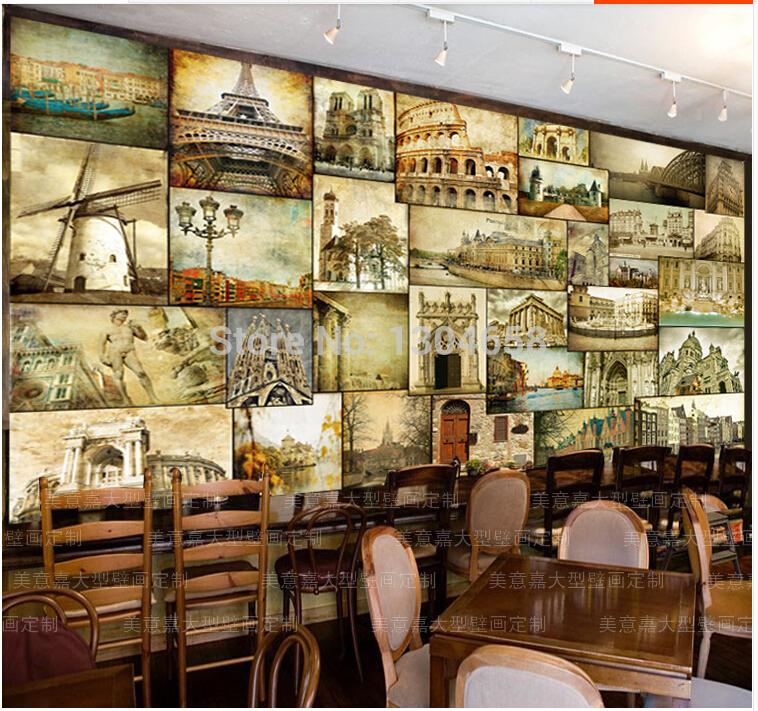 United States retro nostalgia background wallpaper KTV bar restaurant 758x711