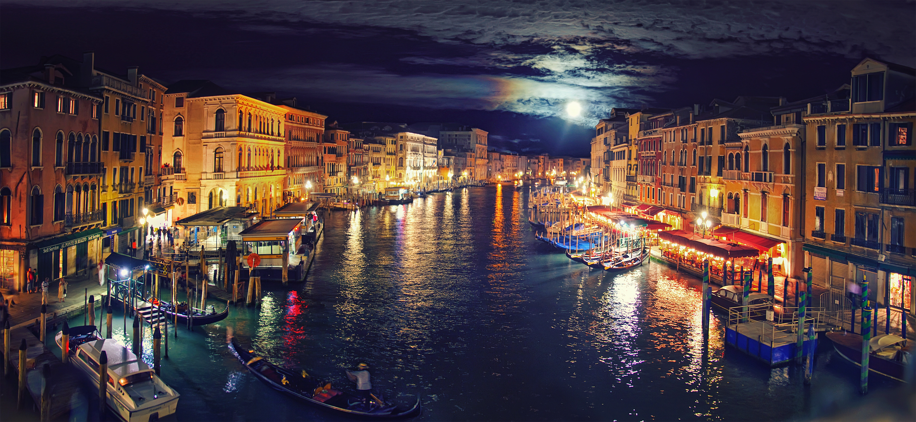 Italy Venice Grand Canal night reflection wallpaper background 3000x1382