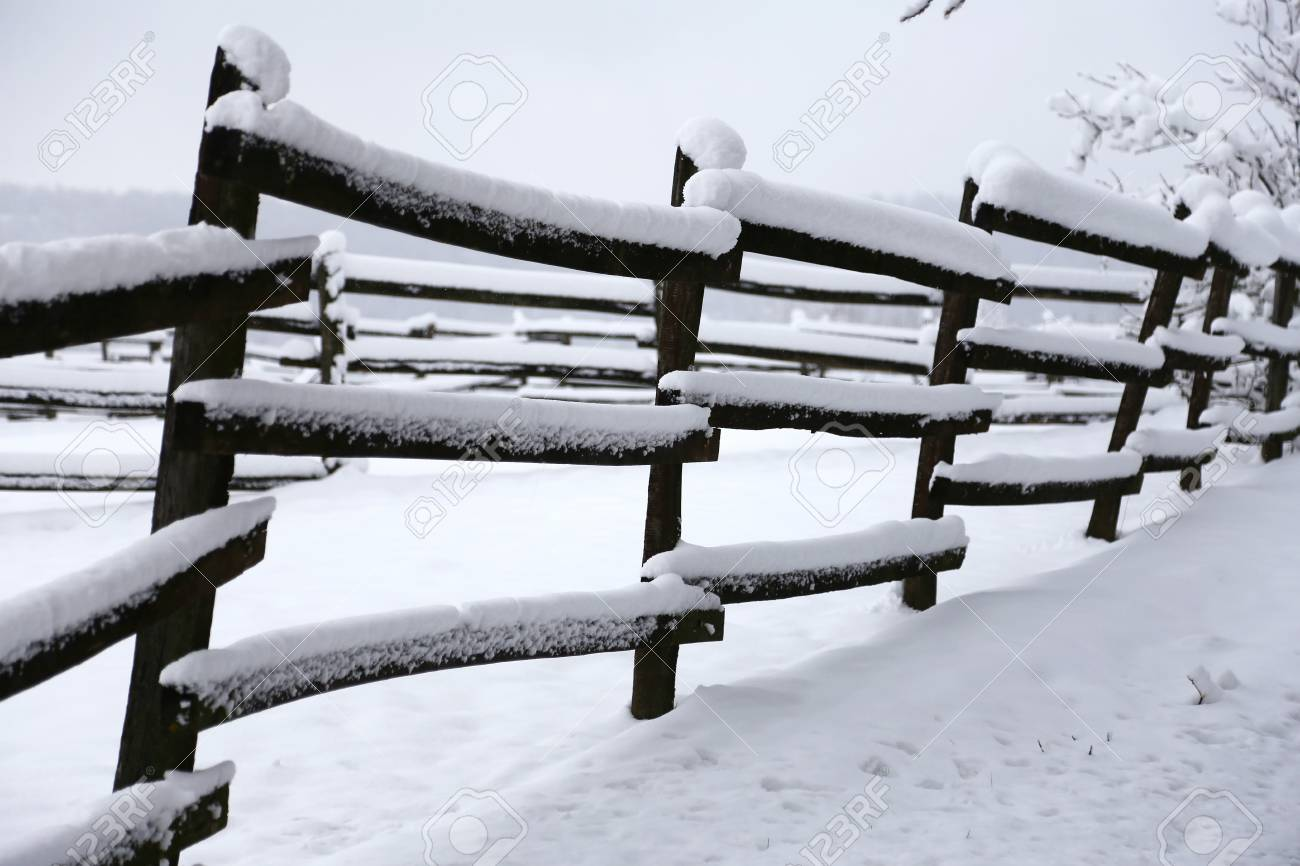 Photo Of A Fabulous Snowy Corral As A Winter Background Stock 1300x866
