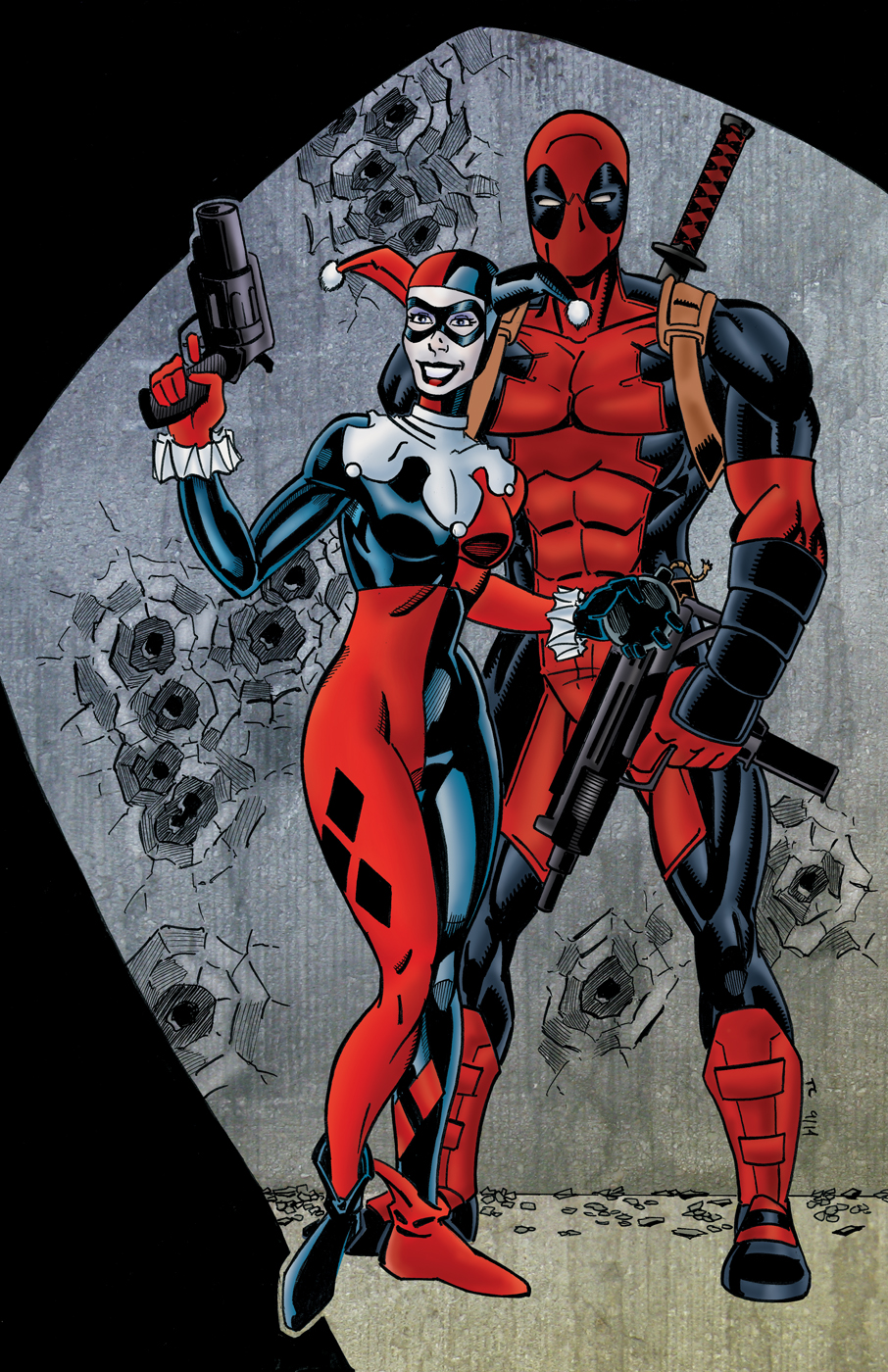 Free Download Harley Quinn And Deadpool Colored By