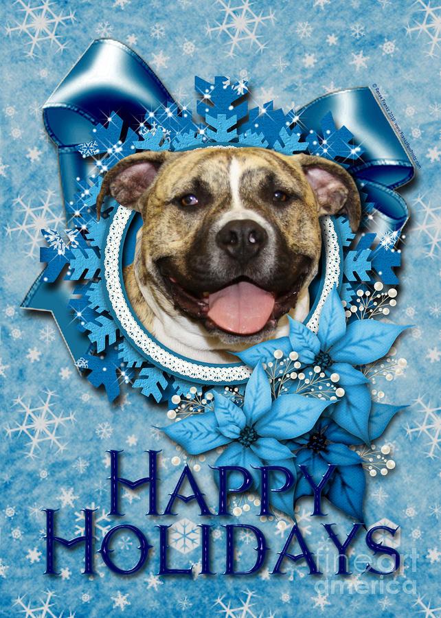 Christmas   Blue Snowflakes Pitbull by Renae Laughner 642x900
