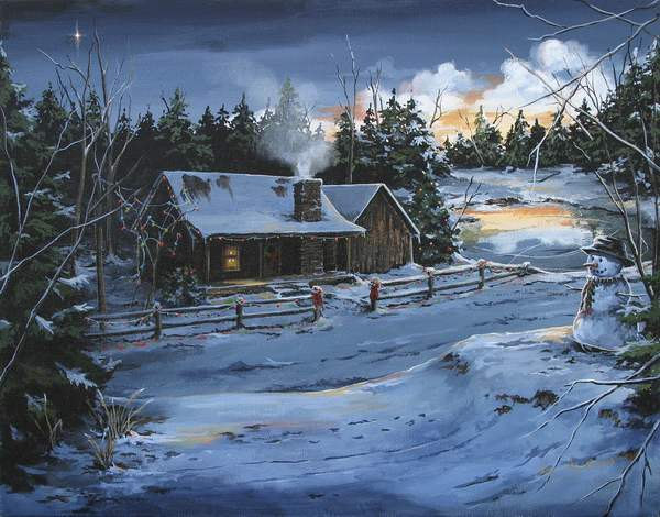 Rustic cabin Winter scenes Archival prints by Brushedmemories 600x470