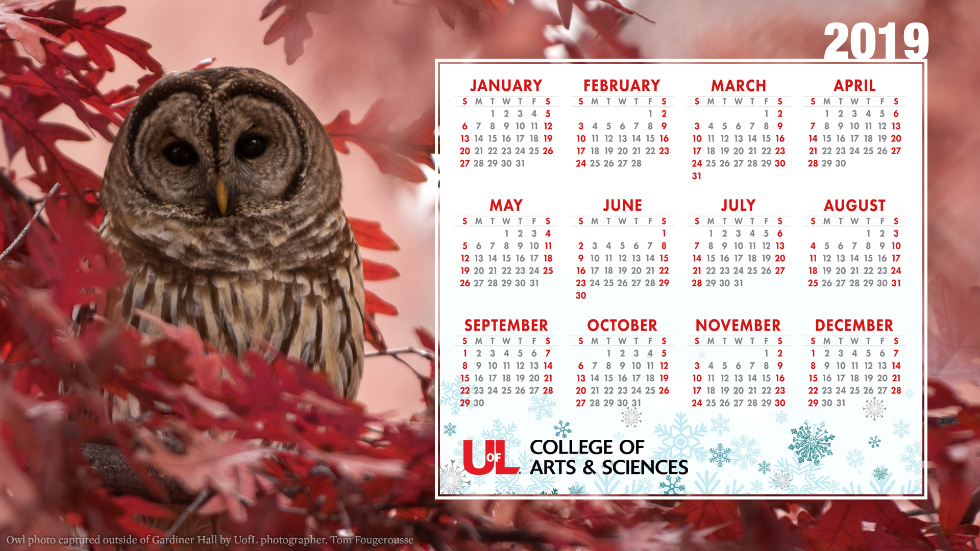 2019 Holiday Calendar Desktop Wallpaper College of Arts Sciences 1920x1080