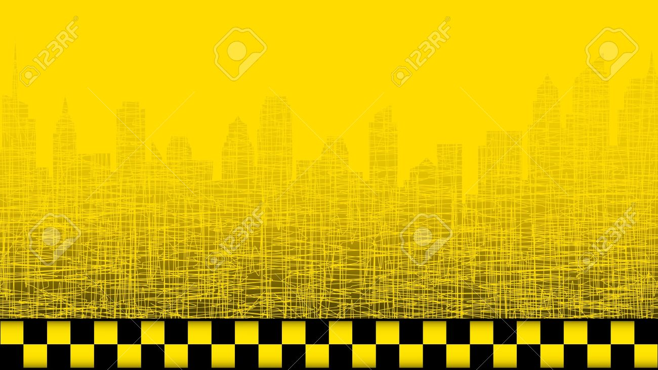 Yellow Taxi Background With City Landscape And Taxi Sign Royalty 1300x732