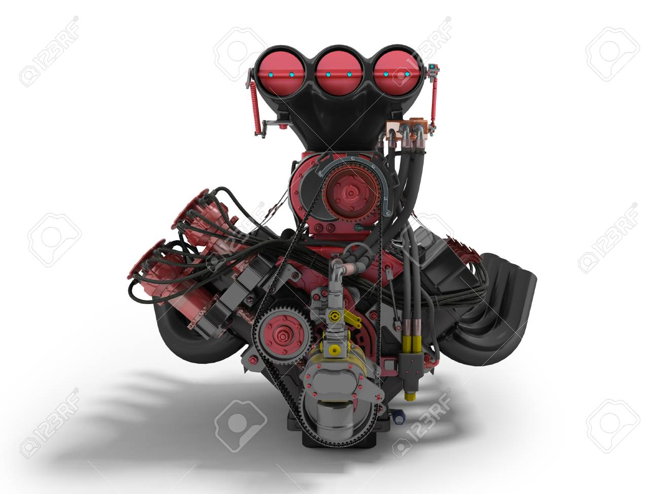 Red Engine With Supercharger Front View 3d Render On White 1300x975
