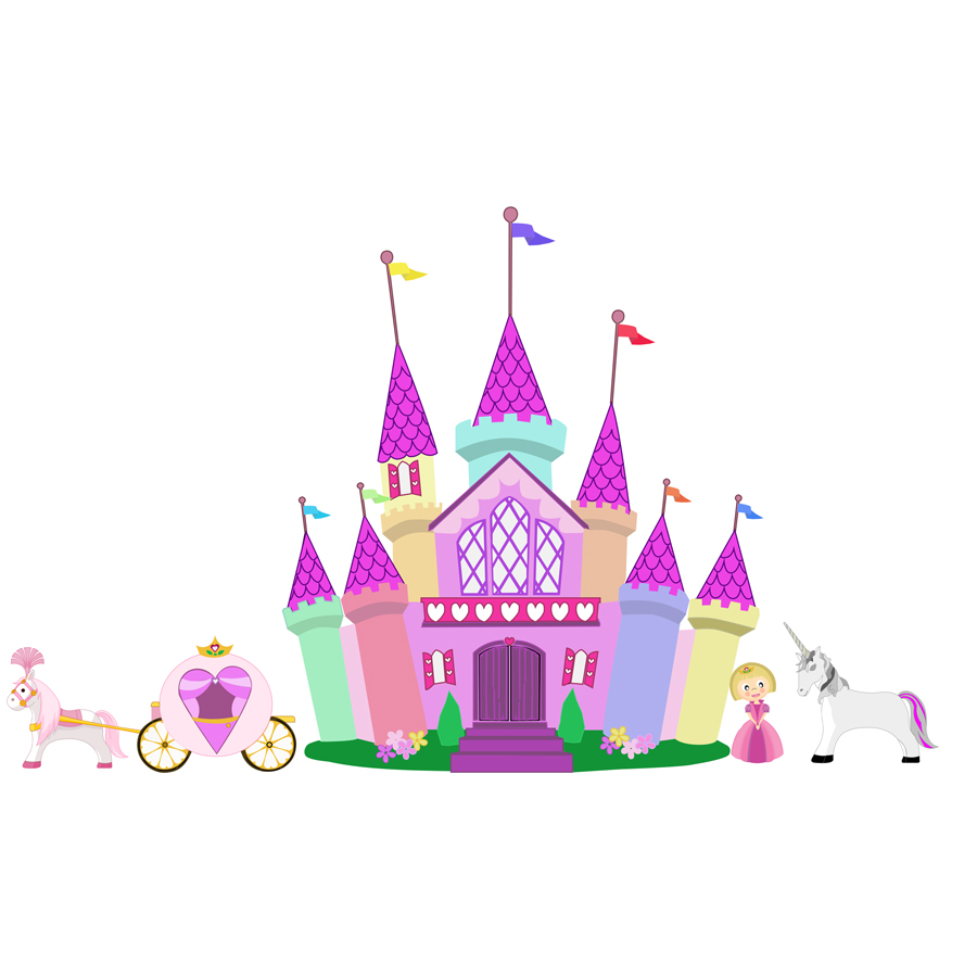 Princess Castle Wallpaper - WallpaperSafari Cute Unicorn Clipart