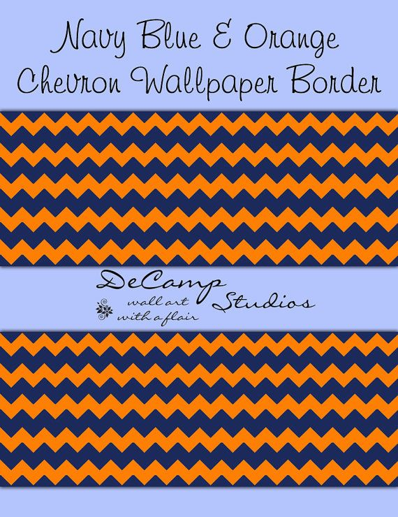 Navy Blue and Orange Chevron wallpaper border wall decals for baby boy 570x740