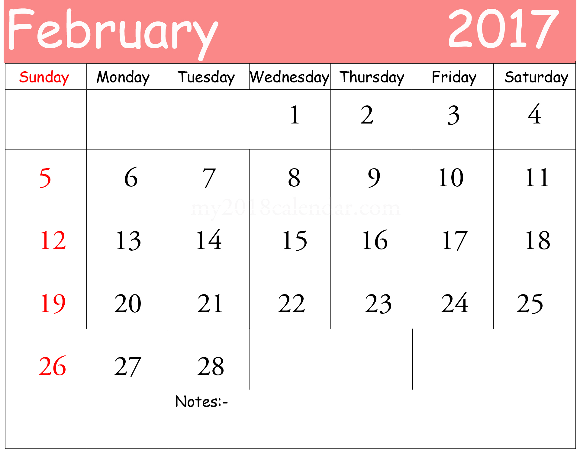 Free Download February 2017 Printable Calendar Download