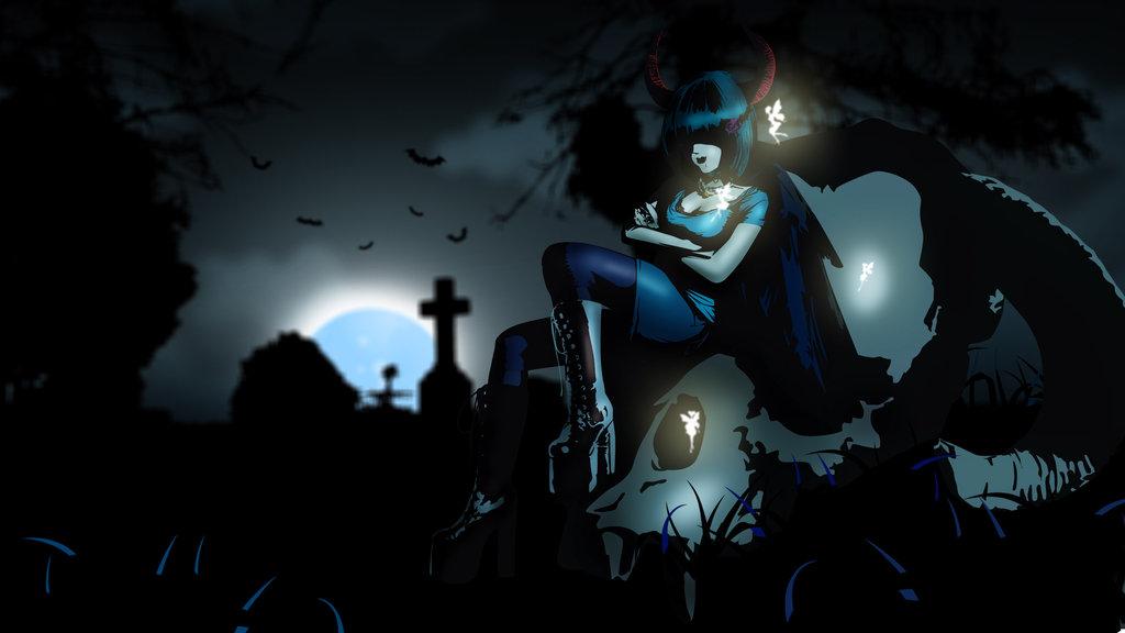 Wallpaper demon girl by Ashmuth 1024x576