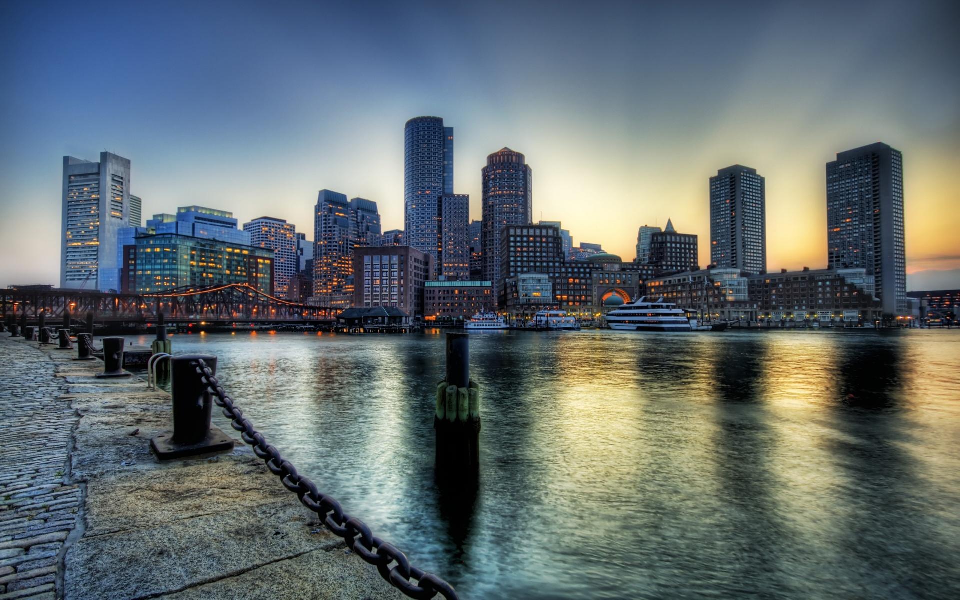 Boston City at Dusk Full HD Desktop Wallpapers 1080p 1920x1200