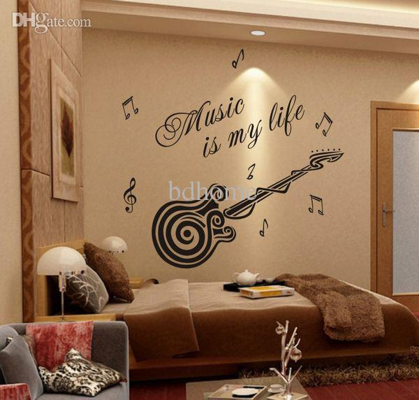 Wholesale Removable Wallpaper Stickers Guitar Decoration Interior 600x572