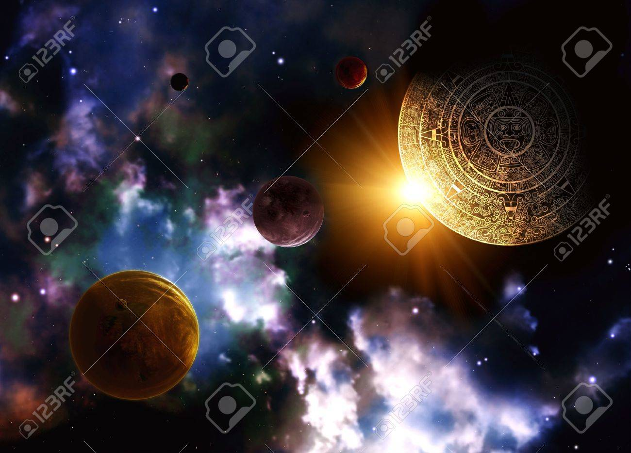 Maya Prophecy Horizontal Background With Space Scene Stock Photo 1300x934