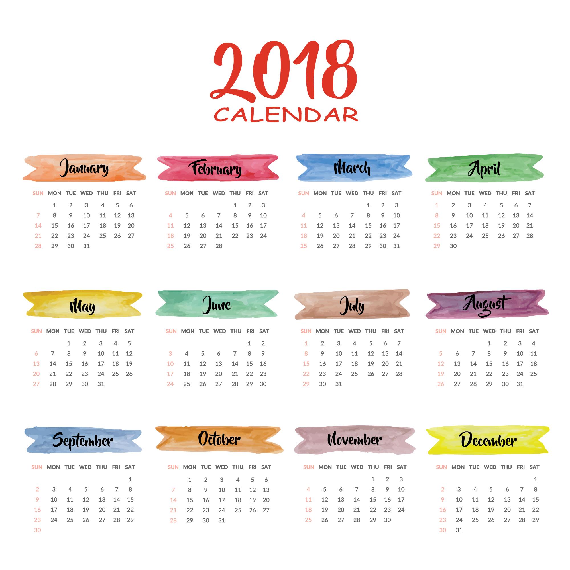 2018 Year Calendar Wallpaper Download 2018 Calendar 2000x2000