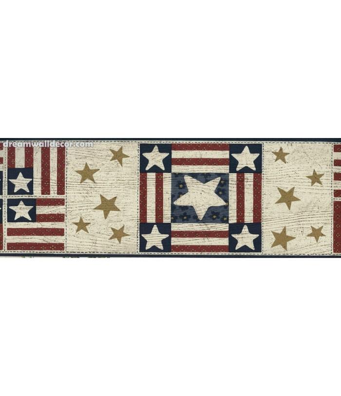 Red US Flag Star Wallpaper Border 700x812