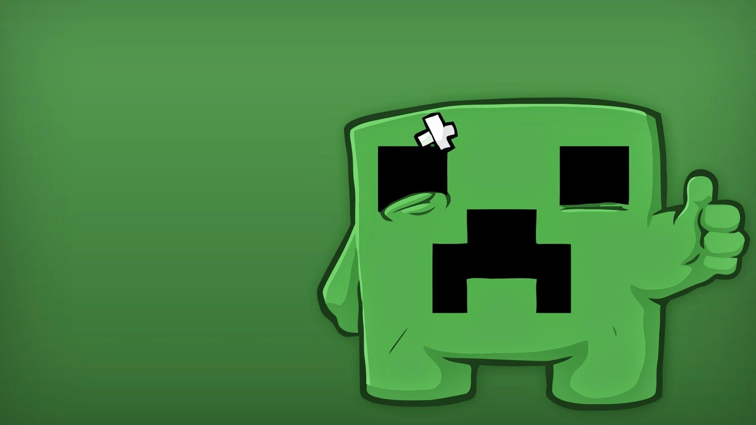 Minecraft Youtube 2560x1440 Minimalistic creeper minecraft 2560x1440