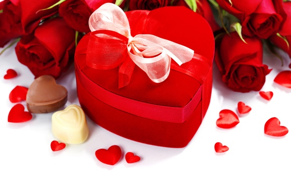 Wallpaper gift heart chocolate roses bouquet candy 596x380