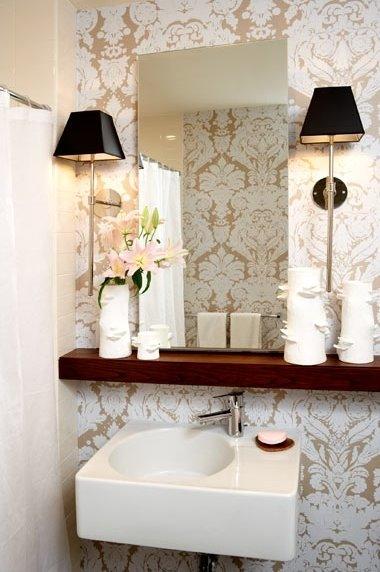 Metallic Damask Wallpaper   Transitional   bathroom   Amanda Nisbet 380x572