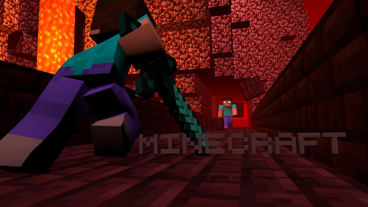 Minecraft HD Wallpaper   Steve Vs Herobrine by roaraku 1280x720