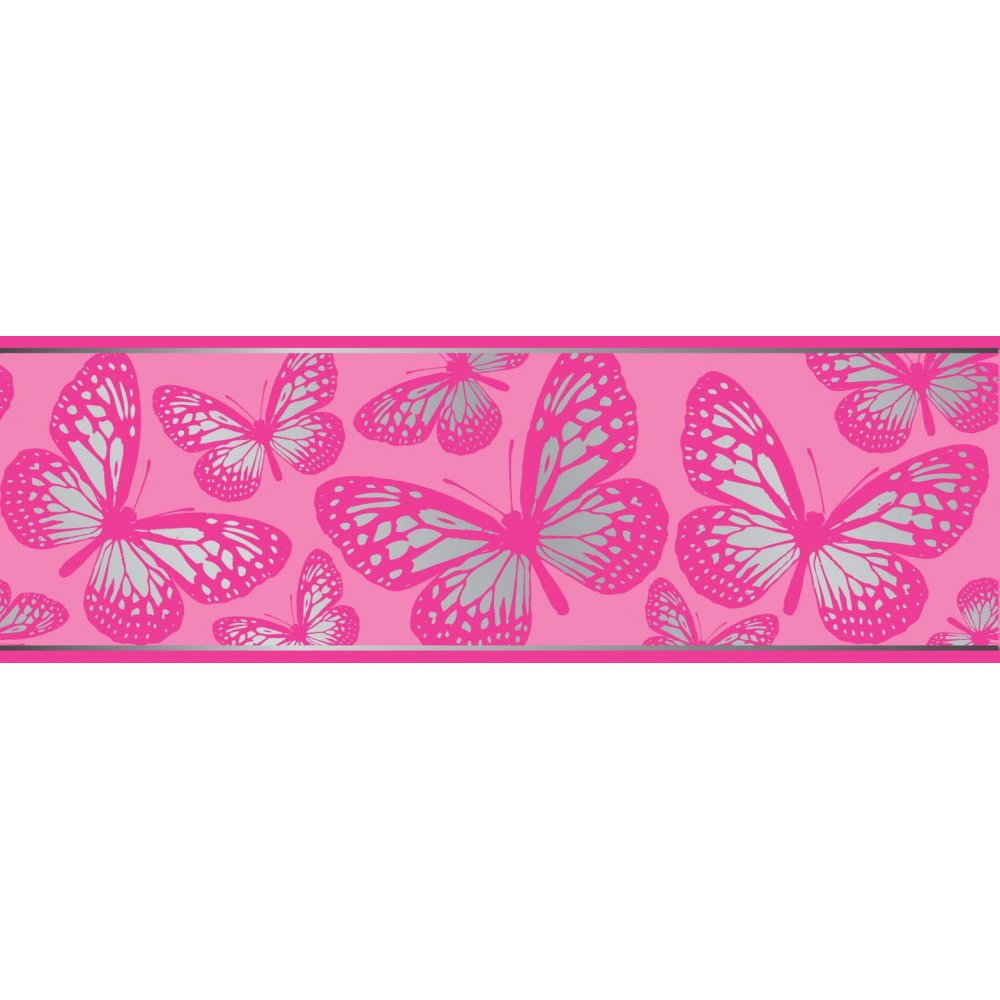 Fun4Walls Butterfly Metallic Wallpaper Border Pink and Silver BO31270 1000x1000
