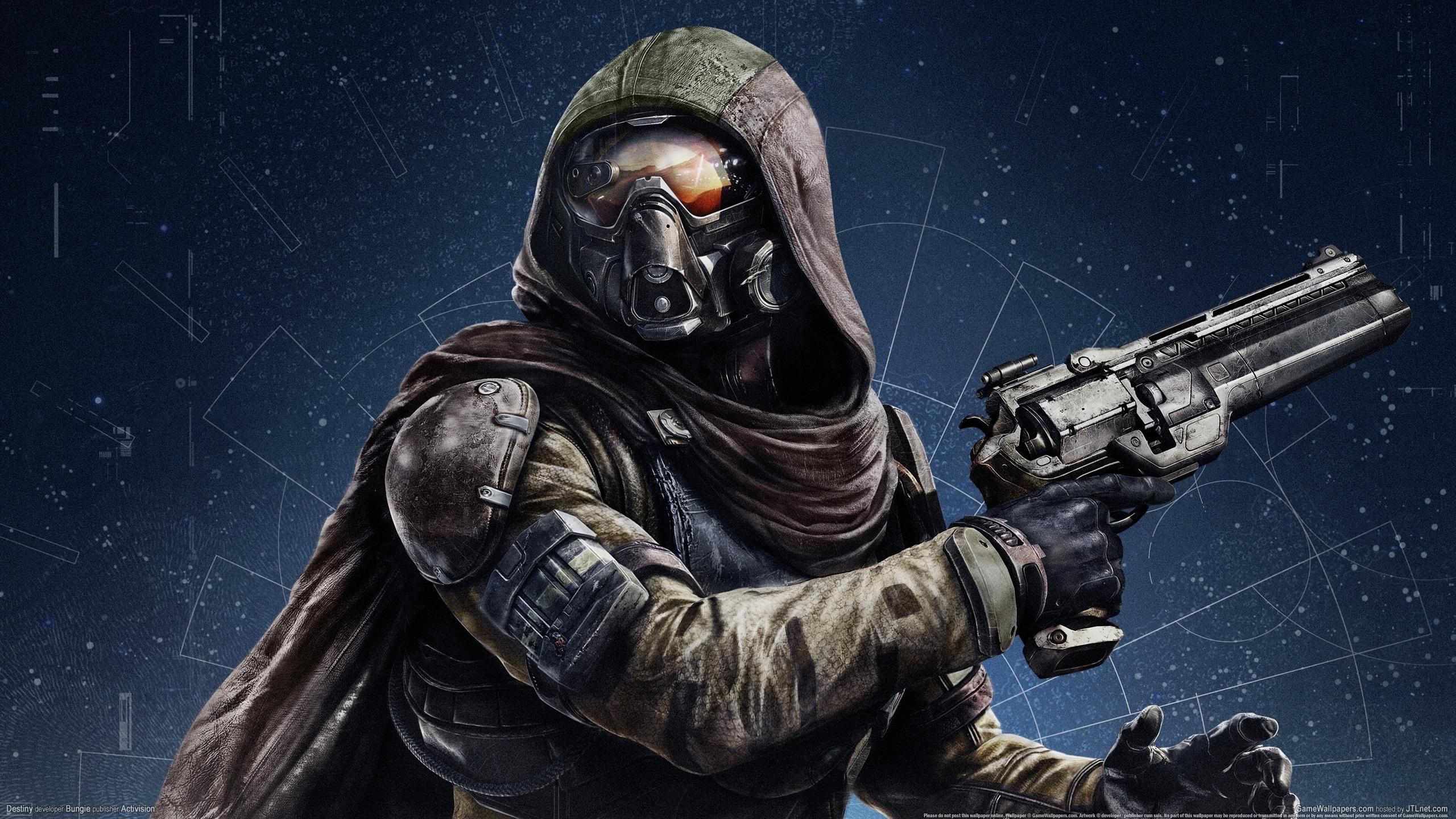 Revolver Hood headgear mask sci fi weapon gun wallpaper background 2560x1440