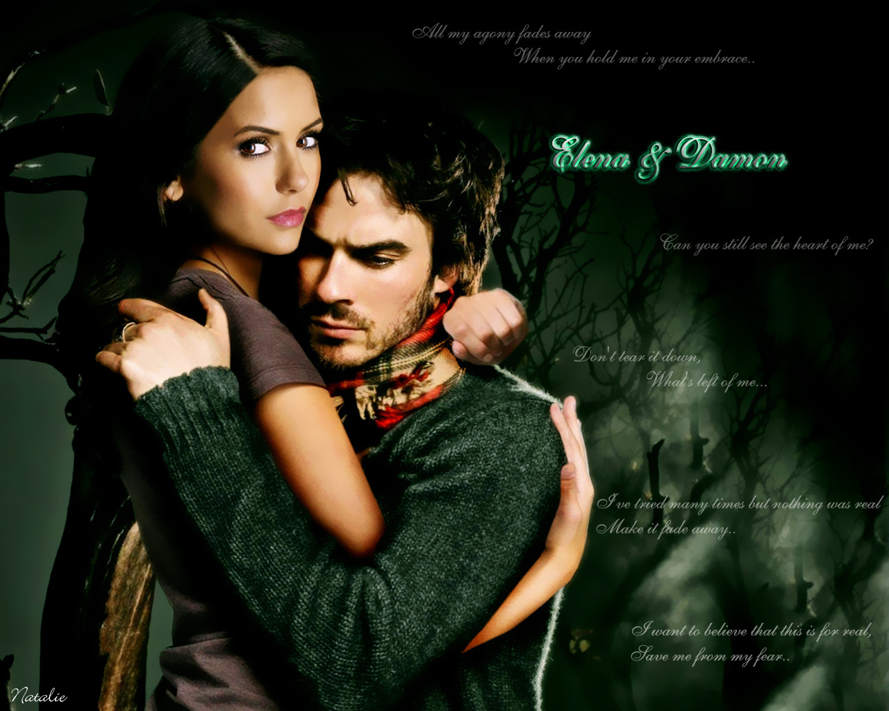 Elena amp Damon   The Vampire Diaries Wallpaper 16023392 1280x1024