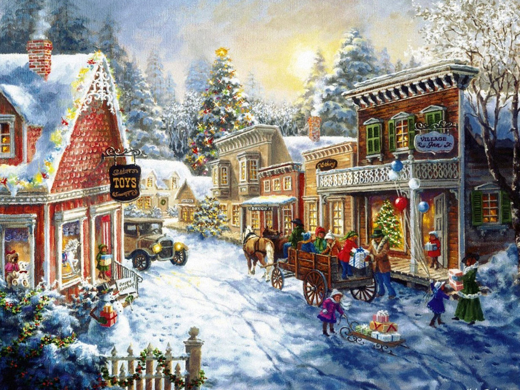 old fashioned christmas town wallpaper - photo #13