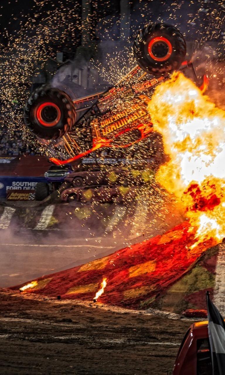 Cars destruction monster truck jam wallpaper 70006 768x1280