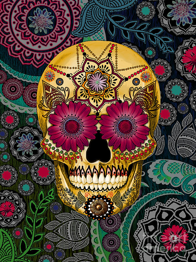 Sugar Skull Paisley Garden   Copyrighted by Christopher Beikmann 675x900