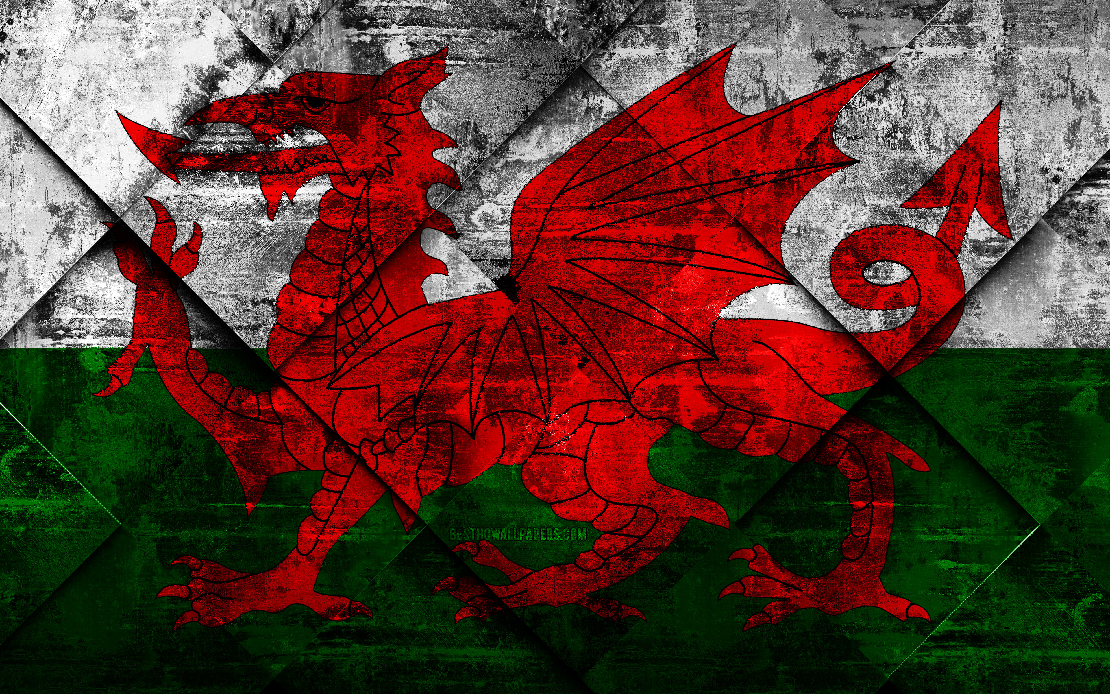 Download wallpapers Flag of Wales grunge art rhombus grunge 3840x2400