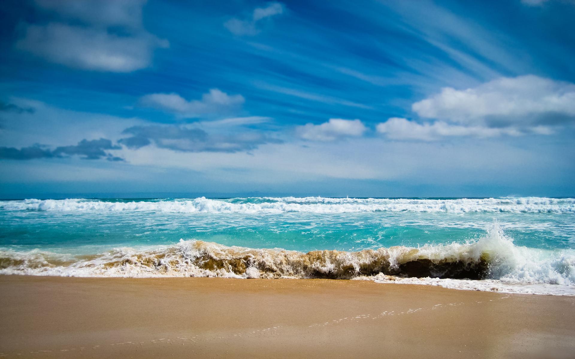 Ocean Wallpaper Landscapes Sea Water Foam Wave Waves Sand Pictures 1920x1200