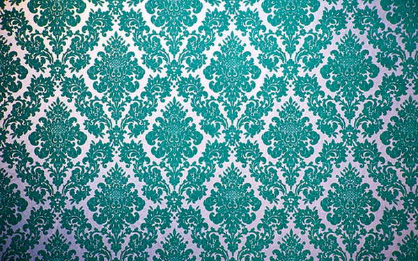 Velvet flocked wallpaper With Blue Color Design 600x375