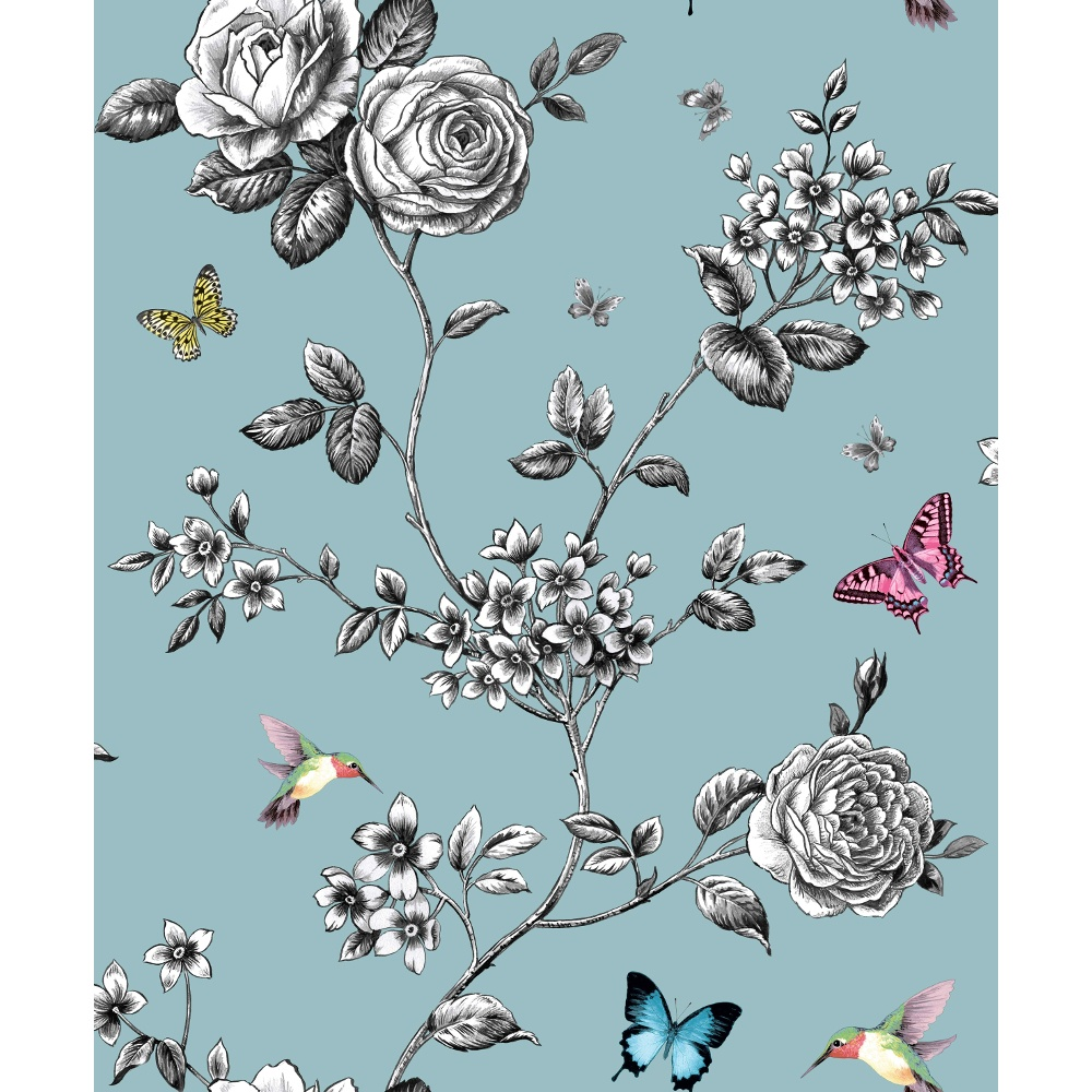 Ideco Rose Garden Bird Butterfly Pattern Floral Motif Wallpaper A14602 1000x1000