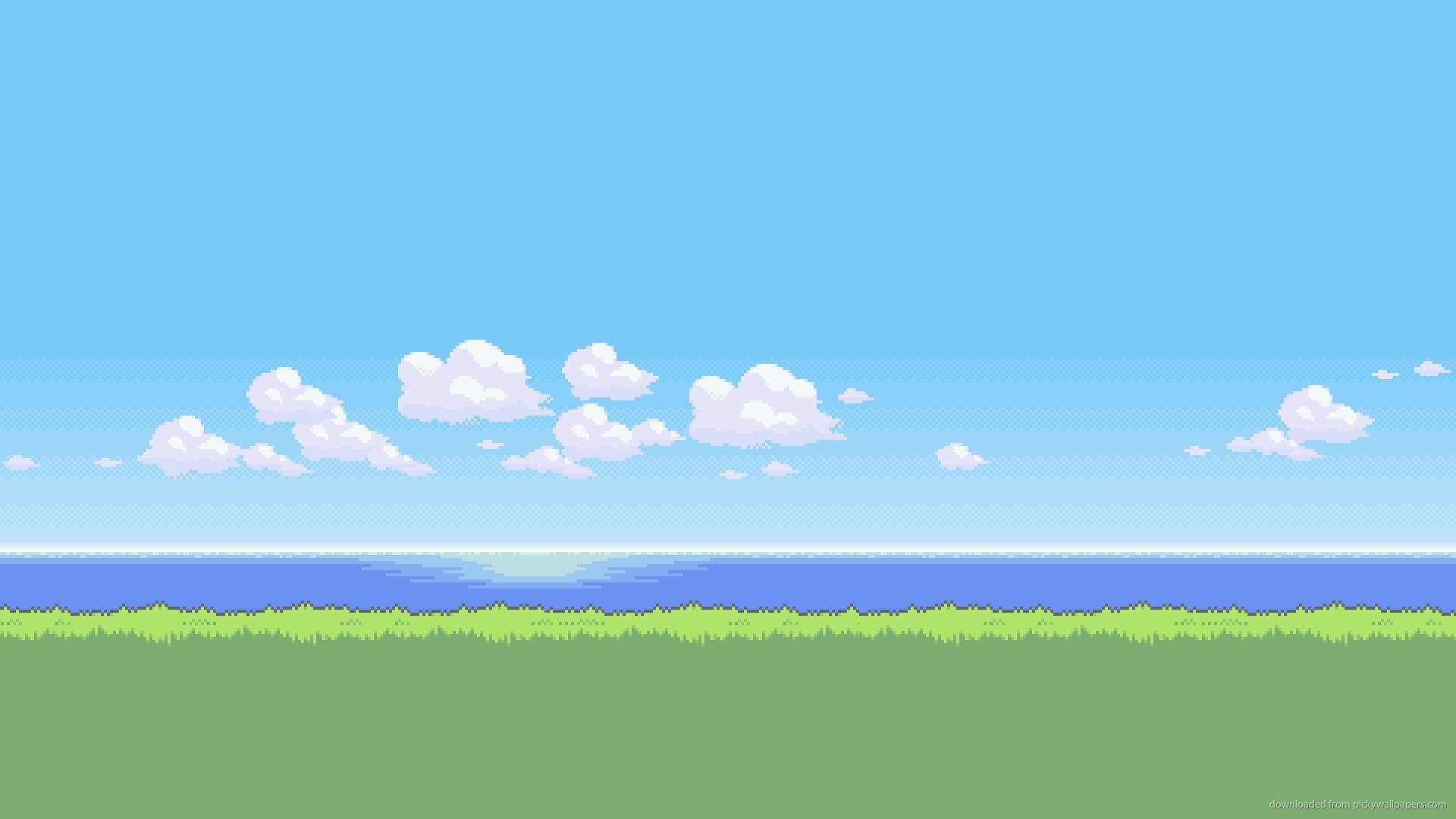 Download 1920x1080 Clean Pixel Landscape Wallpaper 1920x1080