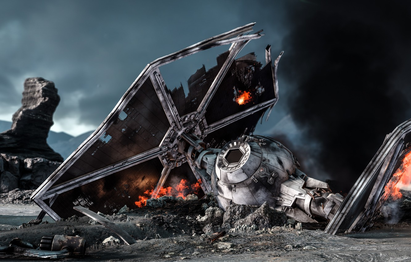 Wallpaper game destroyed Electronic Arts DICE TIE Fighter 1332x850