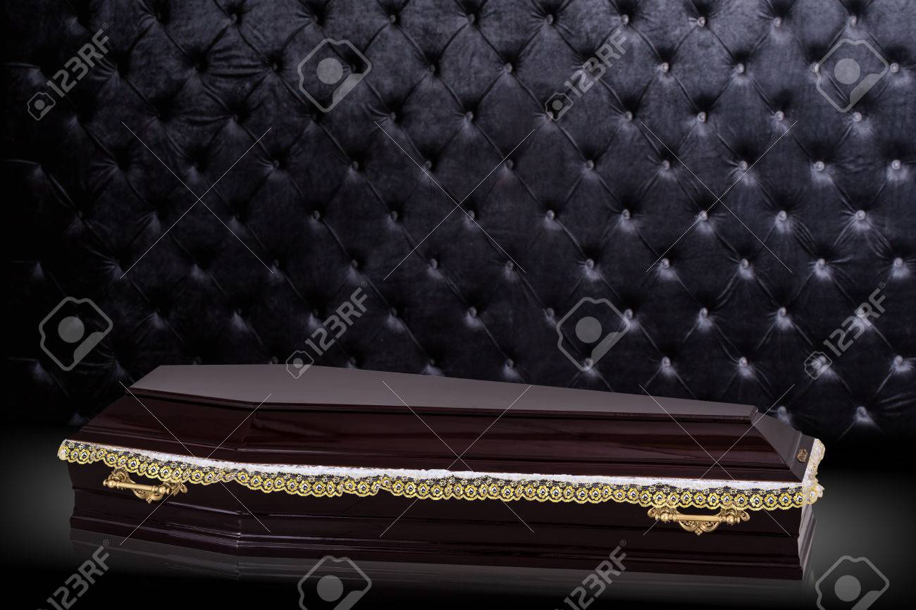 Closed Wooden Brown Coffin Isolated On Gray Luxury Background 1300x866