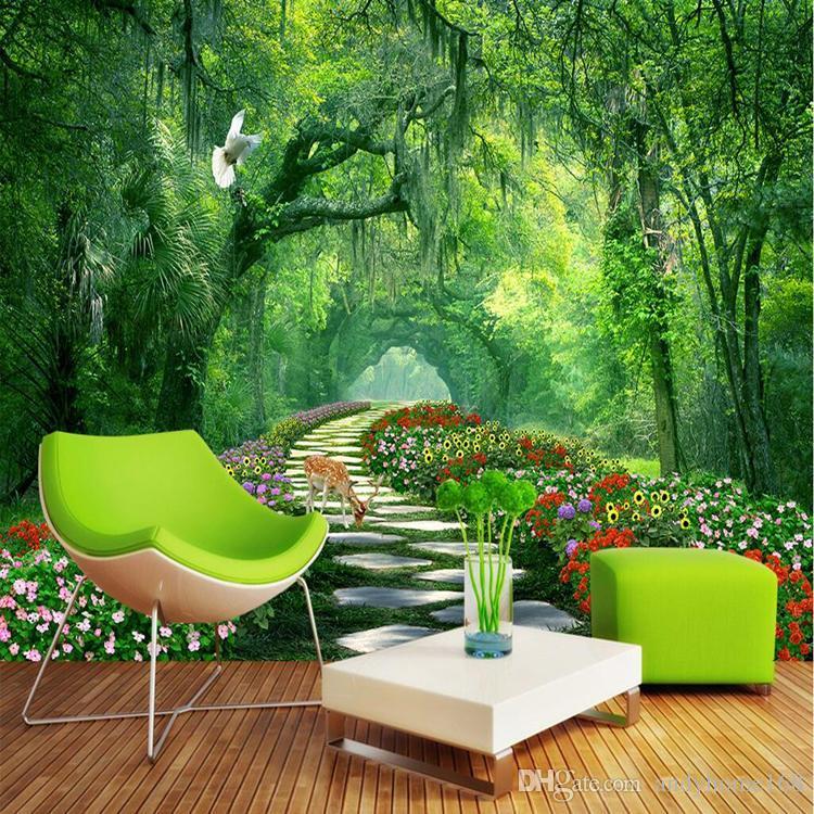 Compre Naturaleza Paisaje 3D Wall Mural Wallpaper Parque De Madera 750x750