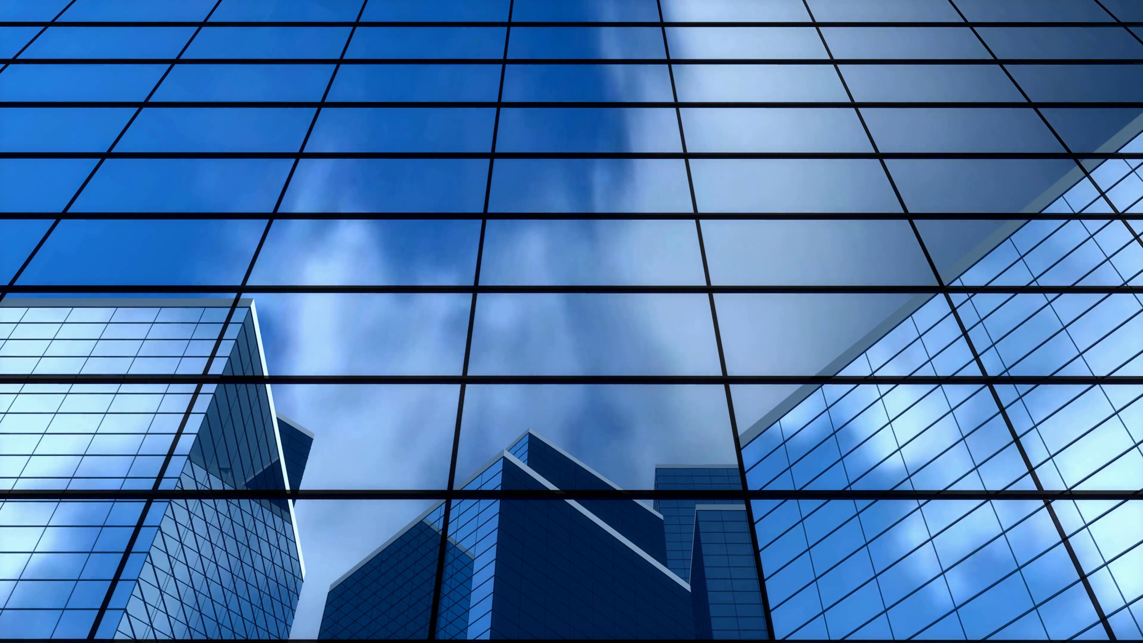 background building office windows glass blue bank 3840x2160