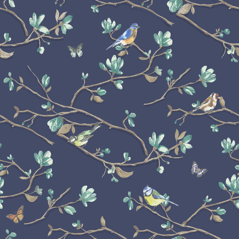 Dcor Kira Bird Butterfly Pattern Floral Flower Motif Wallpaper 98120 1000x1000