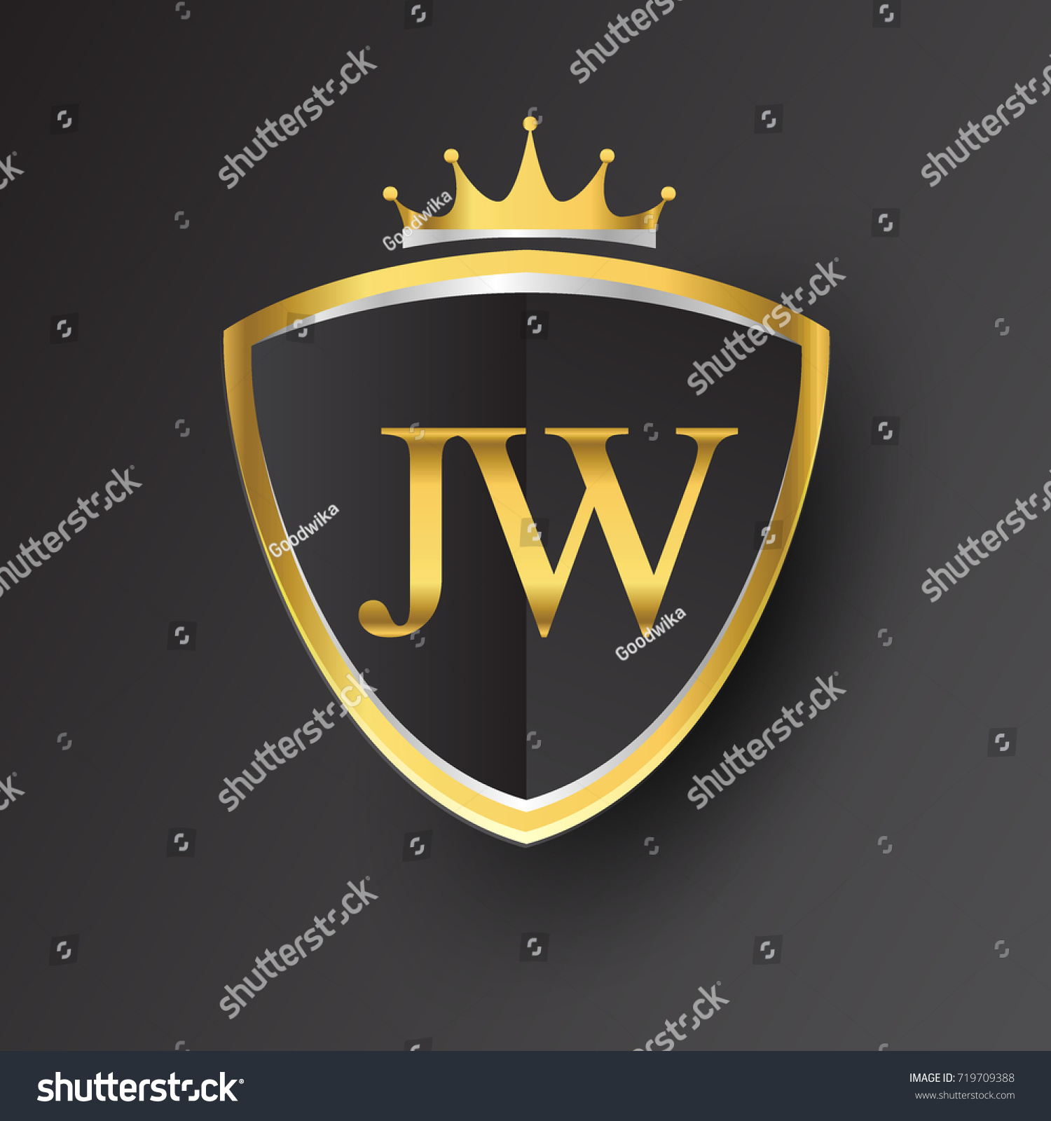 Initial Logo Letter Jw Shield Crown Stock Vector Royalty 1500x1600