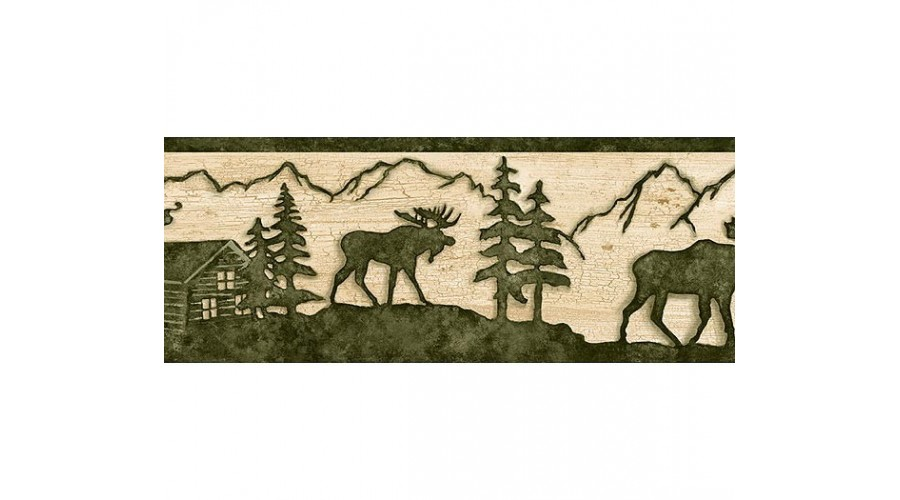 Home Beige and Green Lodge Moose Wallpaper Border 900x500