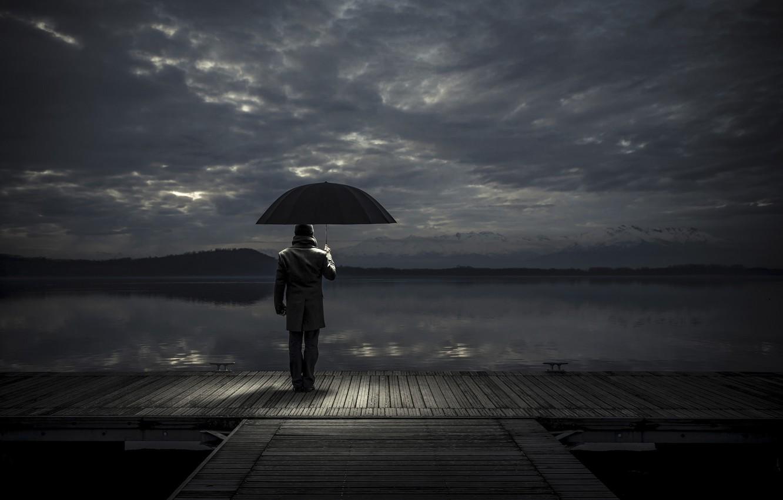 Wallpaper umbrella pier male waiting images for desktop 1332x850